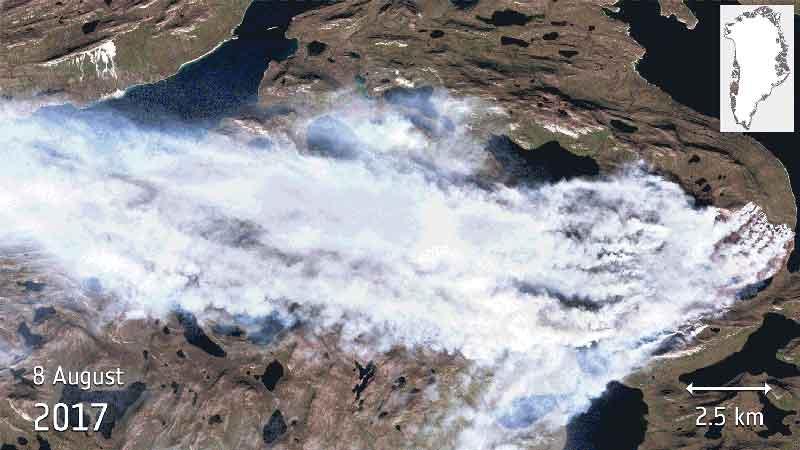 آتش سوزی در گرینلند-sentinel2a